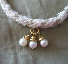 Beautiful Braided Bracelet with Pearl Dangles - FREE SHIPPING. $17.49, via Etsy.