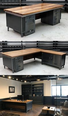 The Commodore Desk - truly luxurious handmade industrial piece of furniture built from heavy gauge industrial mild steel and solid oak or walnut