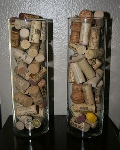 I put all my real corks in two large bell-shaped vases - they look great on my shelf.