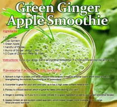 Green smoothie - next time I would grate the ginger or blend really well b/c it can be stringy.