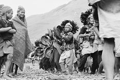 Magar shamans dancing during an initiation ceremony.  Bacchi, Northwest Nepal.  Photo: Michael Oppitz, 1978 - Naturally Nepal