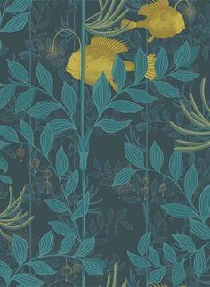 Geheimnisvolle Fische und Unterwasserpflanzen: Tapete Nautilus von Cole & Son - Dark Blue #britisch #englisch #design