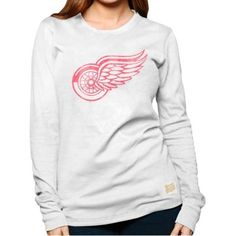Original Retro Brand Detroit Red Wings Ladies Baby Thermal Long Sleeve T-Shirt - White