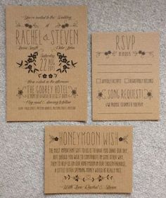 Personalised wedding invitations Rustic Vintage Kraft Brown Floral Shabby Chic