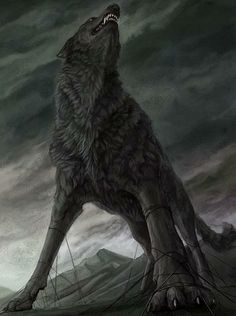 """FENRISÚLFR: In mythology, this is the name of a wolf, the son of Loki and the giantess Angrboða, popularly translated """"swamp wolf,"""" but probably originally meaning """"wolf of hell."""""""
