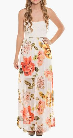 Coveted Clothing Ivory & Green Floral Strapless Dress