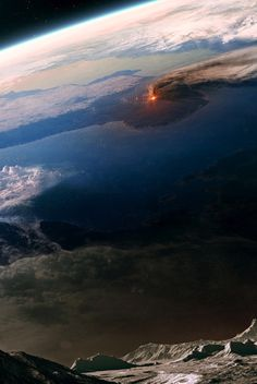 Volcano eruption on Earth observed from the Moon