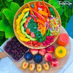 FullyRaw Rainbow Salad with Orange Cilantro Dressing: eat a rainbow (raw, vegan).
