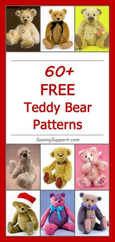 Lots of Free Teddy Bear Patterns, tutorials, and diy projects. Lots of free stuffed teddy bear patterns to sew. Many jointed designs with templates. How to make a teddy bear, diy projects & tutorials, teddy bear sewing pattern. Diy Teddy Bear, Knitted Teddy Bear, Teddy Bear Clothes, Bear Toy, Teddy Bears, Baby Bears, Teddy Bear Patterns Free, Teddy Bear Sewing Pattern, Animal Sewing Patterns