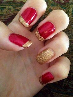 Uñas rojas con dorado 3