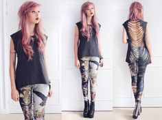 Cut & Sew 'Mala' Slashed Back Tee, Black Milk Clothing Call Of Napoleon Leggings, Jeffrey Campbell Spiked Damsels, Vintage Arm Cuff, Diy Cross Necklace
