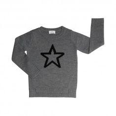 Jumper long sleeve, 100% merino wool, dark gray with star, BOCK Copenhagen