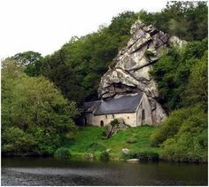 The Chapel of St-Gildas sits upon the bank of the Canal du Blavet in Brittany, France