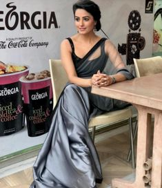 Anita Hassanandani gorgeous blouse designs can make any saree look royal and elegant. Time to steal some unique blouse designs from Anita Hassanandani's Blouse Back Neck Designs, Black Blouse Designs, Best Blouse Designs, Saree Blouse Designs, Shagun Blouse Designs, Satin Saree, Chiffon Saree, Saree Dress, Lace Saree