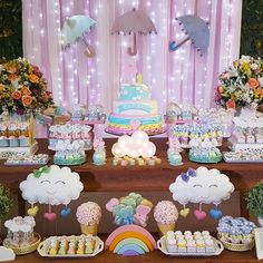 diy birthday gifts for him Baby Birthday, Birthday Parties, Cloud Party, Rainbow Baby, Baby Party, Unicorn Party, Birthday Decorations, Holidays And Events, Baby Shower Themes