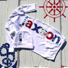 Nautical Name Personalized Newborn Gown and Cap Gift Set
