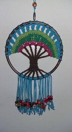 Cactus En Crochet, Motif Mandala Crochet, Crochet Doilies, Dream Catcher Patterns, Dream Catcher Decor, Crochet Home, Cute Crochet, Macrame Patterns, Crochet Patterns