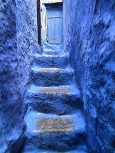 CHAOUEN, MOROCCO by toyaguerrero, via Flickr lovely periwinkle steps stairs stairways