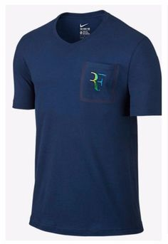 Nike Court Federer RF Stealth Pocket Crew Tennis Shirt Mens L Coastal  803882 423