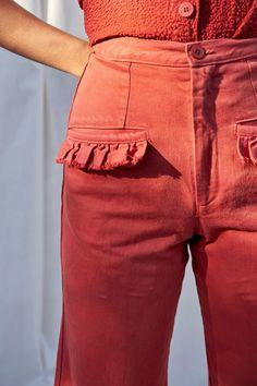 Selva Negra Ruffle Hem Loma Pant Red | Garmentory