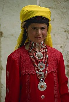 Tajik woman in traditional dress, Tashkurgan, Xinjiang, China, Asia