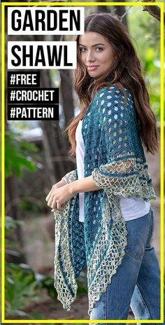 crochet In The Garden Shawl free pattern - easy crochet shawl pattern for beginners Knitting ProjectsKnitting HumorCrochet PatternsCrochet Stitches Picot Crochet, Poncho Au Crochet, Crochet Prayer Shawls, One Skein Crochet, Crochet Patron, Crochet Shawls And Wraps, Quick Crochet, Crochet Scarves, Crochet Lace