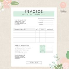 Invoice template, Photography invoice, Business invoice, Receipt template for Photographers, Photography forms, Photoshop template, PSD file