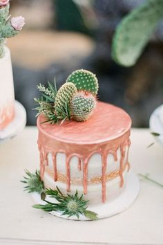 Drip Drip - Drip cakes are the biggest trend these days in wedding cakes, but we don't see why you can't serve one for dessert at your backyard bash! Pretty Cakes, Cute Cakes, Beautiful Cakes, Amazing Cakes, Bolo Tumblr, Cactus Cake, Cactus Wedding, Cake Trends, Drip Cakes