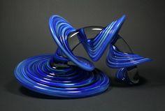 Small Heechee in Blue-Green Mix - Glass Art Sculpture