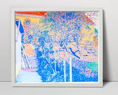 Old stairs and garden - handmade serigraph - landscape fine art - garden landscape - nature art - sunny art - tree screen print sunlit tree