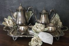 Gorgeous Oneida Silverplate Five Piece Tea by TheVintageHeiress, $245.00