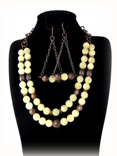 Creamy Soft Yellow Calcite Bliss Necklace and by Designed By Audrey, on Etsy ~ $50.00