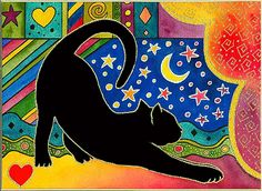Stretching Cat by Cathy Connolley, Caitlihne on Etsy, http://www.cathyconnolley.com/