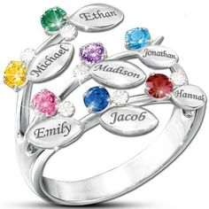 Amazon.com: Personalized Birthstone Ring in Family Tree Design: Jewelry Products: Jewelry