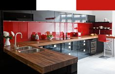 Red Glass Splashscreen With Black Cabinets.