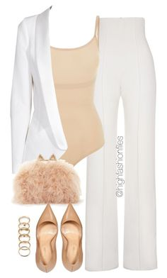 """Suited II"" by highfashionfiles ❤ liked on Polyvore featuring moda, Yves Saint Laurent, SPANX, Forever 21, SLY 010, BCBGMAXAZRIA e Sergio Rossi"