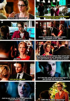 """Felicity """"Can't Keep Her Chill About Oliver's Proposal"""" Smoak! :) #Olicity #Arrow #4x09"""