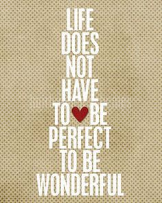 Life does not have to be prefect to be wonderful.