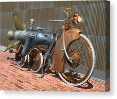 Steampunk Canvas Print featuring the digital art 1900 Dual Rocket Steambike by Stuart Swartz Arte Steampunk, Steampunk Festival, Steampunk Cosplay, Steampunk Design, Steampunk Fashion, Steampunk Female, Steampunk Gears, Vintage Bikes, Vintage Motorcycles