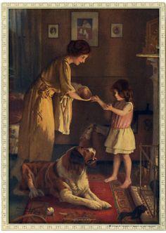 Thos. D Murphy 1920s Arthur John Elsley Art Print Saint Bernard Victorian Scene #ArtNouveau