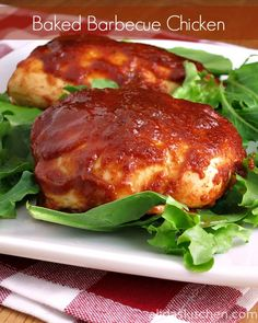 Baked Barbecue Chicken ~ This is the easiest recipe for barbecue chicken ever! The amounts can be easily adjusted. I roughly estimate about 1/4 cup sauce per 1 serving ~4 oz chicken.