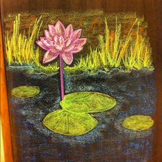 Waldorf ~ 1st grade ~ Letter: L ~ The Lotus Flower ~ chalkboard drawing