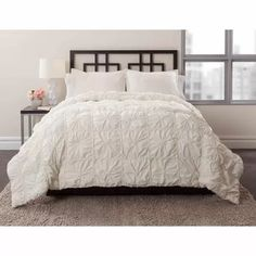 East End Living Knotted Squares 3-Piece Bedding Comforter Set, Ivory