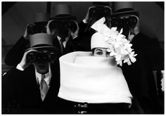 Hat by Givenchy,Longchamp Racetrack, Paris 1958 Model Bettina Graziani Photo Frank Horvat