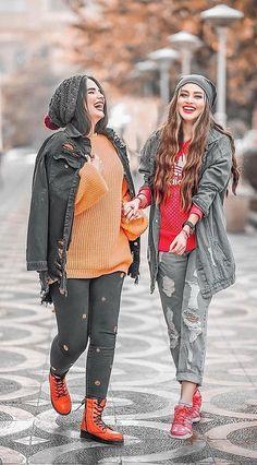 Iranian Women Fashion, Korean Fashion, Beautiful Girl Dance, Iranian Beauty, Best Friend Poses, Black Jeans Men, Girls Cuts, Girl Friendship, Hijabi Girl