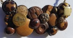 Excited to share the latest addition to my #etsy shop: Antique and Found Button Necklace Wood https://etsy.me/2Grwg98 #jewelry #necklace #brown #lobsterclaw #women #antiquebuttons #bronze #cable #steampunk#antique