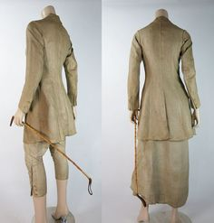 Rare antique Edwardian six-piece sidesaddle riding habit in natural butcher's linen includes a fitted jacket with matching breeches and apron, a