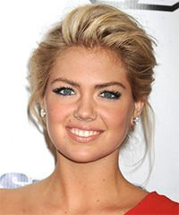 Kate Upton Hairstyle: Formal Updo Medium Straight Hairstyle