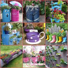Creative DIY Garden Containers and Planters from Recycled Materials - My Garden Decor List Garden Crafts, Garden Projects, Diy Projects, Yard Art, Recycling, Diy Recycle, Recycled Garden, Recycled Planters, Small Backyard Gardens