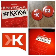 Klout '12 #SXSW Influencer shirts. Put your own topic and get +K pins from friends! #KXKW.    Tweet @klout what SXSW event/moment influences you and why on using #KXKW on 3/9 from 1-3PM PST and we'll randomly choose 5 of you to get one of these awesome shirts!
